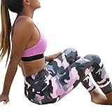 Leggings Imprimés Camouflage Pantalons De Yoga Rawdah Mode Femmes Camouflage Sport Yoga Workout Gym Fitness Exercice Pantalon Athlétique Vêtements d'Entraînement De Sport Trouser Pants Pour Femmes (Rose, S)