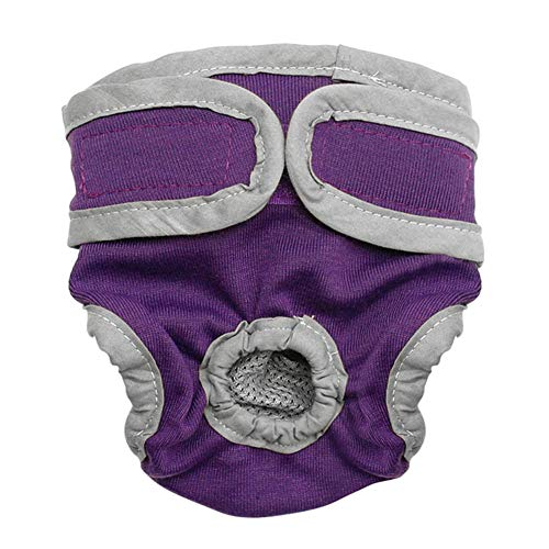 XuBa Weibliche atmungsaktive Physiologische Hose für kleine Meidium Hunde, violett, M (Violett 091)