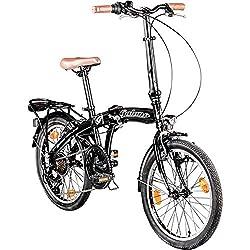 Galano 20 Zoll Park Lane Camping Klapp Fahrrad 6 Gang Shimano Licht, Farbe:Schwarz