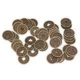MagiDeal 50 Pièces de Monnaies d'Empereur Chinois en Alliage Fortune Souvenir Feng Shui Argent 2cm...