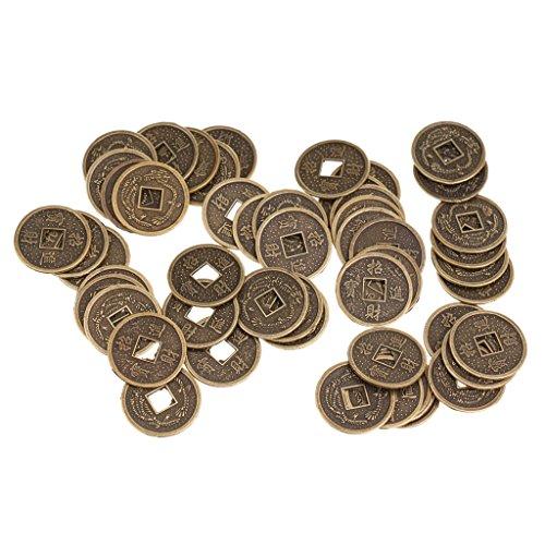 Homyl 50 X Chinesische Münzen als Glücksbringer Feng Shui Bronze alt Reichtum -