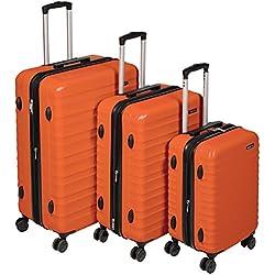 AmazonBasics Valise de voyage à roulettes pivotantes, Orange brûlé, Lot de 3valises (55 cm, 68 cm, 78 cm)