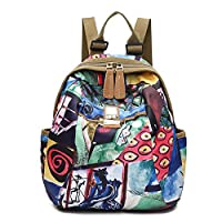 Fashion Shoulder Bag Rucksack, JOSEKO National Style Flower Pattern Nylon Shoulder Bags Backpack for Women