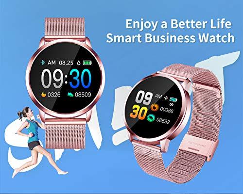 Imagen de smartwatch, impermeable reloj inteligente mujer hombre, pulsera actividad inteligente reloj deportivo reloj fitness con monitor de sueño pulsómetro cronómetros para ios android rosado  alternativa