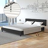 Homelux Polsterbett Doppelbett Bettgestell Bettrahmen Kunstleder 180 x 200 cm Schwarz