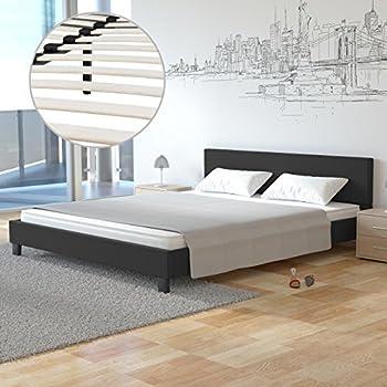 Homelux Polsterbett Doppelbett Bettgestell Bettrahmen Kunstleder 140 X 200  Cm Schwarz