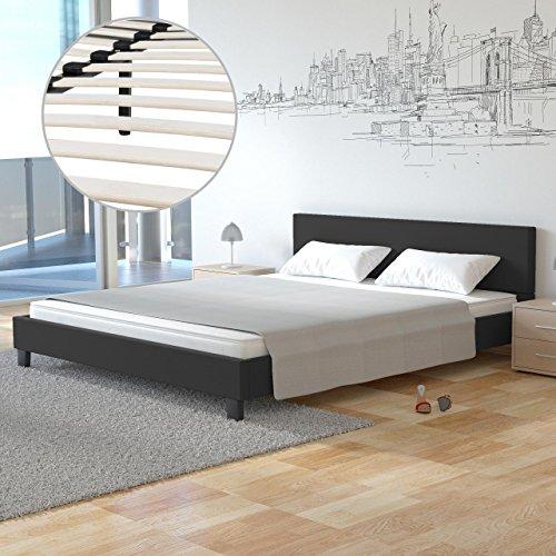 Homelux Polsterbett Doppelbett Bettgestell Bettrahmen Kunstleder 160 x 200 cm Schwarz