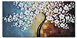 Wieco Art - Blooming life Large Modern Stretched and Framed 100% Hand-painted White Flowers Artwork Floral Oil Paintings on Canvas Wall Art Ready to Hand for Living Room Bedroom Home Decorations