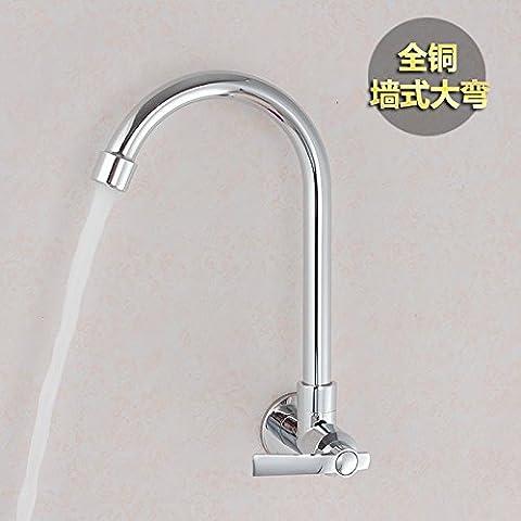 LKSSY Tubo di rame e di ruotare la sola parete-montato acqua fredda rubinetto di cucina lavello in acciaio inox singolo rubinetto fredda-parete Big Bend miscelatore