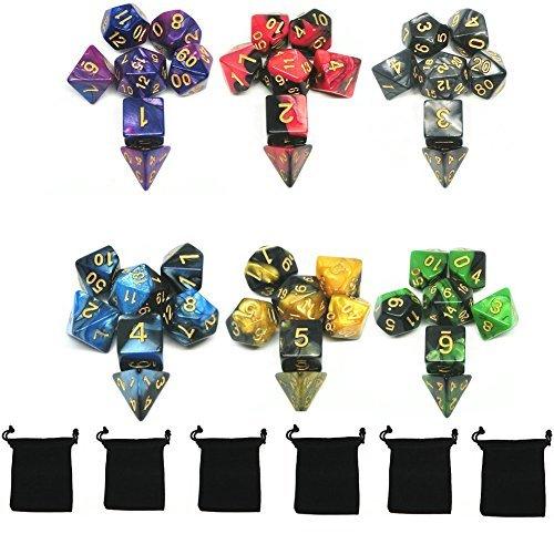 Polyedrische Würfel, 6 x 7 (42 Pieces) Doppel-Farben Spielwürfel, für RPG Dungeons und Dragons Pathfinder mit 6 Stück Schwarz Beutel, 6 Set von d20, d12, 2 d10 (00-90 und 0-9), d8, d6 und d4 -