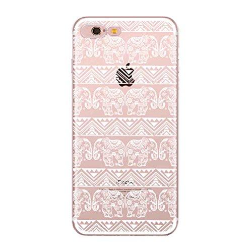 Coque iPhone 7 avec Verre Trempé, Bestsky Coque iphone 8 Mandala Transparent Silicone Blanc Henné Fleur Motif Design Slim Cover Case Anti Choc Protecteur Housse pour Apple iPhone 7/8 #02