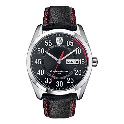 Scuderia Ferrari Watches 0830173 - Reloj para hombres, correa de cuero color negro