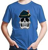 HARIZ  Jungen T-Shirt Totenkopf Mit Wiesnhut Oktoberfest Outfit Tracht Dirndl Lederhosn Plus Geschenkarte Royal Blau 140/9-11 Jahre