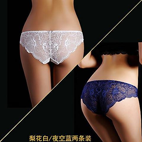 GQF* 2) Sensor de carga de la Sra. underwear Pajarita hacia abajo la ropa interior femenina tejido de encaje transparente sin marcado ,L, pera canosa / noche azul