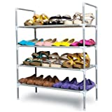 #7: EMBROSS Portable Multipurpose Modern 4 Layer carbon steel Shoe Rack Shoes Storage Cabinet Best Foldable Movable Organizer(Silver) - 100% crafted in India using finest materials and workmanship : 54 cm (L) X 28 cm (B) X 64 cm (H) when installed (For clothes,books,toys storage also)