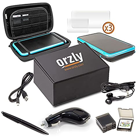 2DSXL Accessoires, Orzly Ultimate Pack pour New Nintendo 2DS XL (Cet ensemble comprend: Chargeur de Voiture / Câble de recharge USB / Coque et Etui pour Console / Boîtiers de Cartouche et plus... (Voir la description complète pour plus de détails)