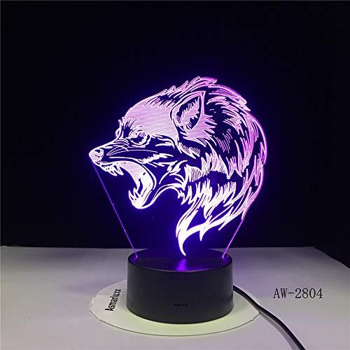 Preisvergleich Produktbild zcmzcm 3D Nachtlicht Wilde wölfe kopf led tischlampe usb kreative baby schlaf nacht leuchte schlafzimmer dekor kinder geschenke