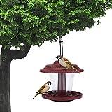 Mangiatoia per Uccelli Selvatici Giardino Pensile Decorazione Esterna Distributore di Cibo per Uccelli Nido di Uccelli Stazione di Alimentazione per Uccelli All'Aperto Alimentatore Automatico (Rosso)