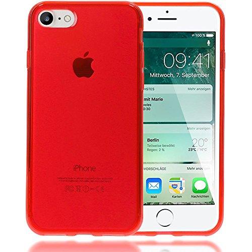 iPhone 8 / 7 Hülle Handyhülle von NICA, Ultra-Slim Silikon Case Cover Crystal Schutzhülle Dünn Durchsichtig, Etui Handy-Tasche Backcover Transparent Bumper für Apple iPhone-7 / 8 - Grün Transparent Rot Transparent
