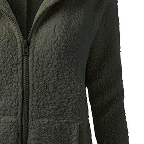 Donne cappuccio Lungo giacca zipper Cappotto Giacca Felpe con eskimo Outwear nvernali Mid Lunghezza Maglione Inverno Caldo Lana XS-4XL super dimensioni Rawdah Esercito verde