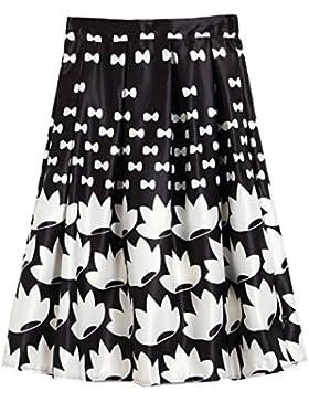 Sunnyshopday 58 1950s Falda Plisada Estampado Floral Falda de Playa Cintura Alta Vestidos Mujeres