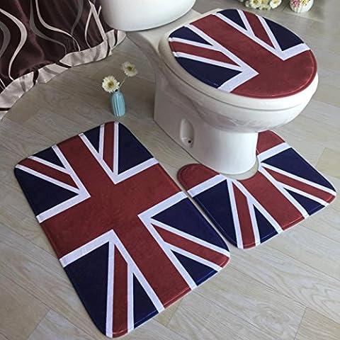 Tonsee 1sets Toilet Mat Bathroom Non-Slip Pedestal Rug + Lid Toilet Cover + Bath Mat (I)
