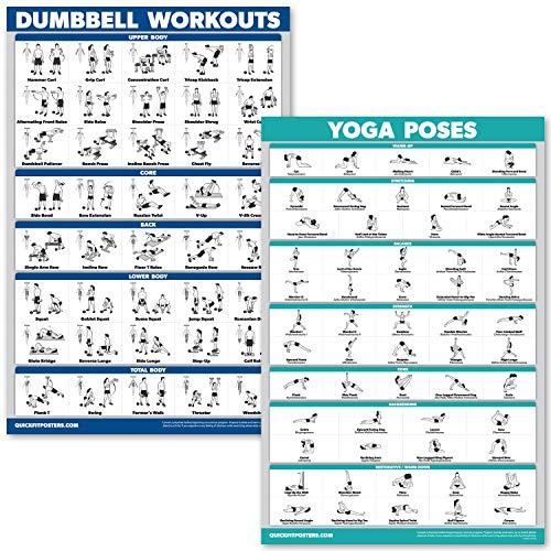 QuickFit Kurzhantel-Übungen und Yoga-Posen Set - laminiertes 2-Diagramm-Set - Kurzhantel-Übungen & Yoga-Positionen, Laminated, 18