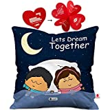 Indibni Valentine Day Gift Lets Dream Together Quote Cute Young Couple Holding Hands Dreaming Blue Cushion Cover 16x16 inch - Gift for Boyfriend, Girlfriend, Birthday, Wife, Husband, Anniversary