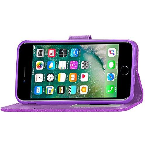 Coque pour Apple iPhone 7 4.7,Housse en cuir pour Apple iPhone 7 4.7,Ecoway étui en cuir PU Cuir Flip Magnétique Portefeuille Etui Housse de Protection Coque Étui Case Cover avec Stand Support Avec de motif lumineux(pourpre)