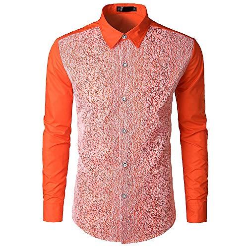 Yvelands Camisa de Encaje de Hombre, Camisa de Manga Larga de Corte Slim Casual, Blusa Alta, Ofertas (Naranja, L)