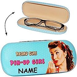 """Brillenetui / Brillenbox - """" Vintage - Retro Design - Pin up Girl - Punkte """" - incl. Name - Hardcase / Hartschale - extrem stabil - Etui mit Motiv - für Brille oder andere Kleinigkeiten / kleine Tasche für Utensilien - für Kinder & Erwachsene - Hartschalenetui / Metallverschluß - Federverschluß - Sonnenbrille - Lesebrille / Design 50er Nostalgie - Damen türkis"""