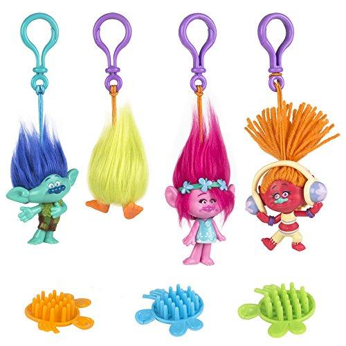 Set Trolls llaveros: Poopy, Branch, Fuzzbert y Dj Suki