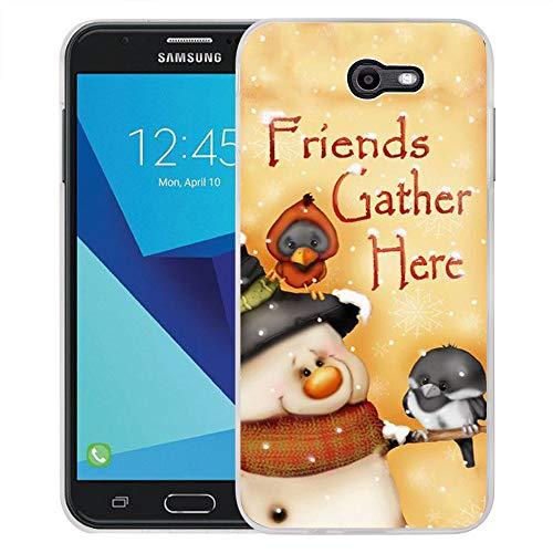 Galaxy J7 V Hülle, Galaxy J7 Prime Hülle, Galaxy J7 Perx Hülle, Galaxy J7 Sky Pro/Galaxy Halo Case, Viewll kompatibel mit Samsung Galaxy J7 2017 Hülle Schwarz Streifen Blumen, Merry (5) (Mobile 5 Virgin Samsung)