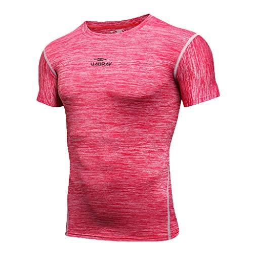 EUZeo Herren Langarm/Kurzarm Training Kleidung Bluse Einfarbig Outdoor Schnelltrocknend Hohe Elastizität Running Trainingsanzug Sports Pullover Top Pulli