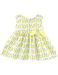 Vestido de niña pequeña de verano Vestido de mangas estampado de piña o chile
