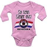 Mikalino Langarm Babybody so Sehn Sieger aus Hrvatska Kroatien, Farbe:Rosa, Grösse:62