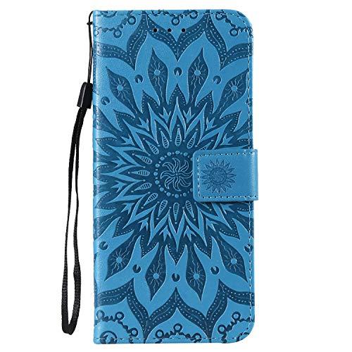 Gray plaid custodia huawei p30 pro,pattern sun in rilievo alta qualità cuoio pu portafoglio flip case cover [titolare della carta][funzione stand] per huawei p30 pro - blu