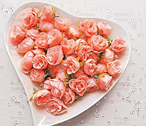 Peach Melba Rose Bud Decorative Synthetic Flowers (Faux Silk) Mini Rose Buds (25)