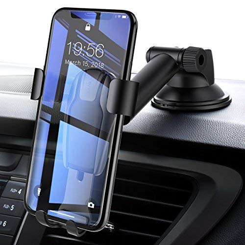 Youge Handyhalterung Auto, Autotelefonhalterung Autohalterung Auto Handy Halter KFZ Halterung Autotelefonhalter handyhalter und Teleskoparmkompatibel für iPhone Samsung Huawei (Schwarz)-MEHRWEG