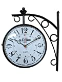 GIFTWITHSWAGGER's 8 Inches Dial Black Double Sided Old Town Vintage Wall Clock