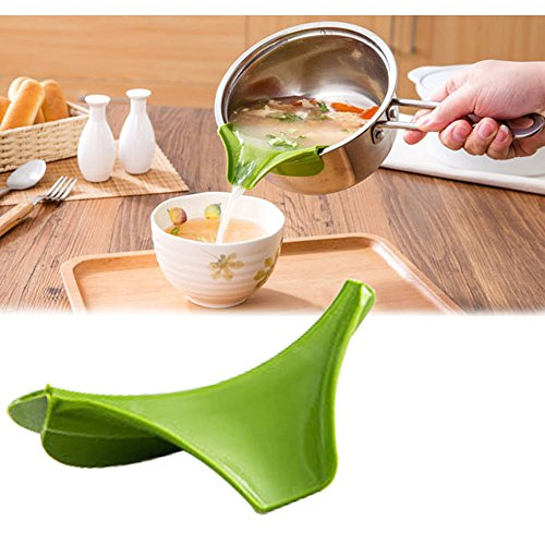 Lezed Funnel Diverter Kitchen Utensils Cookware Non Spill Anti spill Kitchen Gadget Kitchen Tools Cooking Tools Deflector Creative Kitchen Green