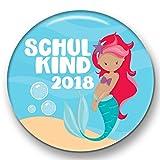 Polarkind Button Pin Anstecker Schulkind 2018 Geschenk zum Schulanfang Mädchen Meerjungfrau 38mm Handmade