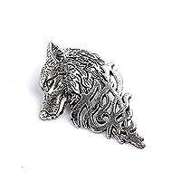 AllRight Brooch Pin Metal Brooch Men Jewelry Retro Metal Wolf Brooch Men Decorate Gift Silver