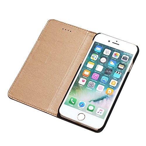 iPhone7 Plus Leder Brieftasche Hülle,EVERGREENBUYING Flip Case Etui IPHONE 7+ mit Aufklappbare Echtes Leder Schutzhülle Book Style Hülle Case Cover für iPhone 7 Plus 5.5 inch Schwarz Schwarz