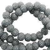Sadingo Acrylperlen glitzernd, Kunststoffperlen, Funkelnde Perlen - 8 mm - 10 Stück - Armband selber Machen, DIY Schmuck, Farbe:Dunkelgrau