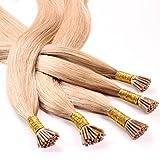 hair2heart 25 x Microring I-Tip Extensions aus Echthaar, 50cm, 0,5g Strähnen, glatt - Farbe 27 dunkelgoldblond