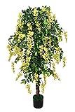 Kunstbaum Goldregen 1,90 m Kunstpflanze Echtholzstamm Gummibaum McPalms