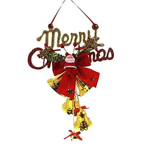 Chytaii Glocken Anhänger Weihnachtsglocken Briefe Glöckchen Windspiele Deko Anhänger für Weihnachten 29*20CM (Weihnachten Läuten Glocken)