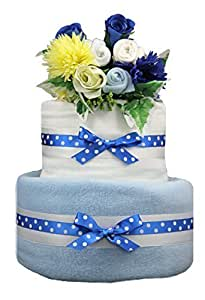 by Little Tiddlywinks 2 tier blue nappy cake with baby clothes bouquet / posy - baby boy maternity shower gift and present