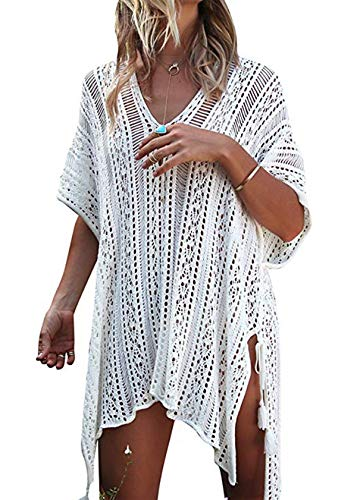 kenoce Strandkleider Damen Große Größen Bikini Cover up Strandponcho Urlaub Zubehör Bauchweg Bademode Weiß Einheitsgröße